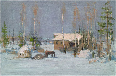 COUNTRY LANDSCAPE IN WINTER WITH HORSE AND BARN